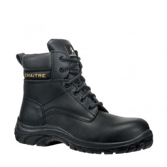 NOIR - Chaussure de sécurité S3 professionnelle de travail noire en cuir ISO EN 20345 S3 mixte chantier artisan