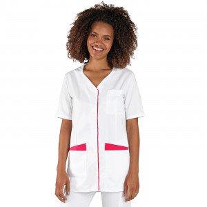 BLANC/FUCHSIA - Tunique professionnelle de travail blanche à manches courtes femme auxiliaire de vie infirmier aide a domicile m