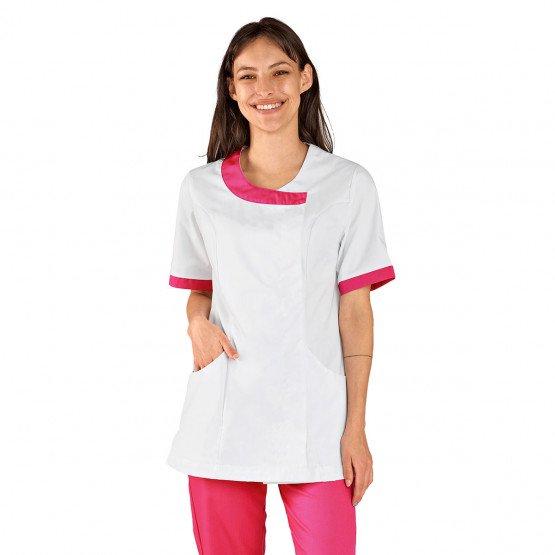 Tunique professionnelle travail blanche manches courtes femme aide domicile medical auxiliaire vie infirmier - BLANC/FUCHSIA