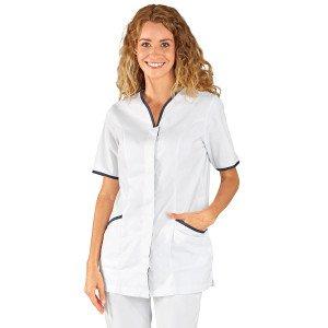 CHAMBRAY/ANIS - Tunique professionnelle de travail blanche à manches courtes femme aide a domicile infirmier auxiliaire de vie m