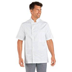 BLANC - Veste de cuisine manches courtes professionnelle de travail à manches courtes 100% coton mixte hôtel restaurant serveur