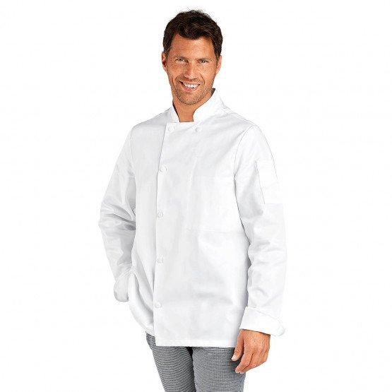 BLANC - Veste de cuisine professionnelle de travail à manches longues 100% coton mixte hôtel cuisine serveur restauration