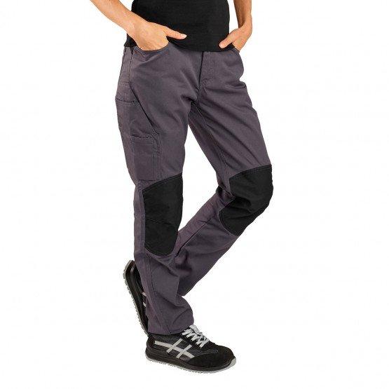 GRIS/NOIR - Pantalon de travail professionnelle femme internat chantier transport menage