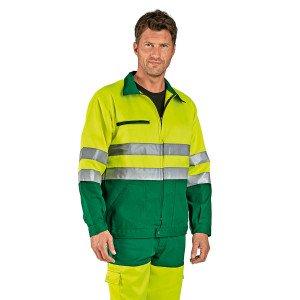 Veste travail professionnelle manches longues homme transport chantier manutention artisan - VERT/JAUNE