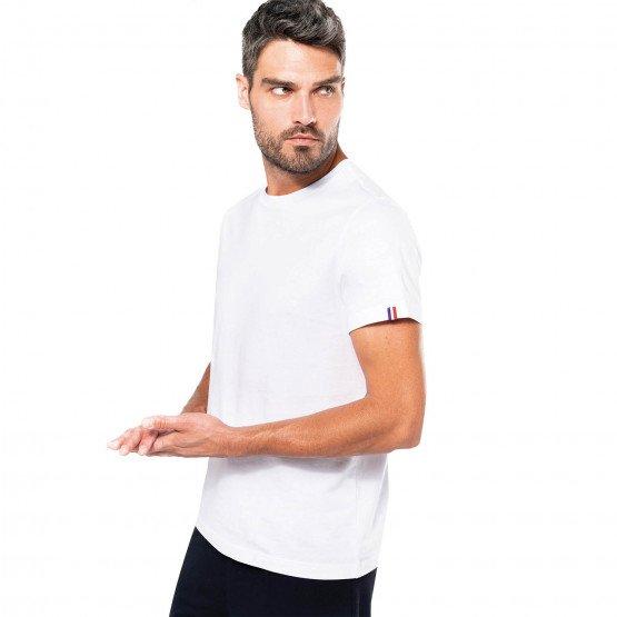 BLANC - Tee-shirt professionnelle de travail à manches courtes BIO 100% coton homme serveur médical restaurant infirmier