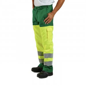 Pantalon travail professionnel homme transport artisan manutention chantier - VERT/JAUNE