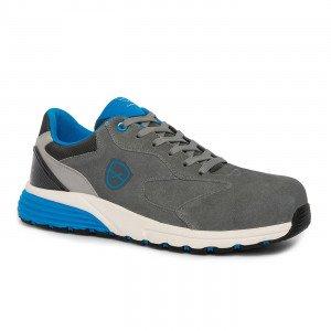 GRIS/BLEU - Chaussure de sécurité S3 professionnelle de travail en cuir ISO EN 20345 S3 homme manutention logistique chantier ar