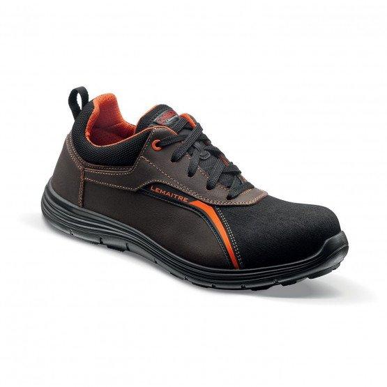 MARRON/ORANGE - Chaussure de sécurité S3 professionnelle de travail en cuir ISO EN 20345 S3 mixte