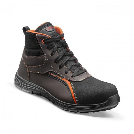 MARRON/ORANGE - Chaussure de sécurité S3 professionnelle de travail en cuir ISO EN 20345 S3 mixte manutention menage entretien a