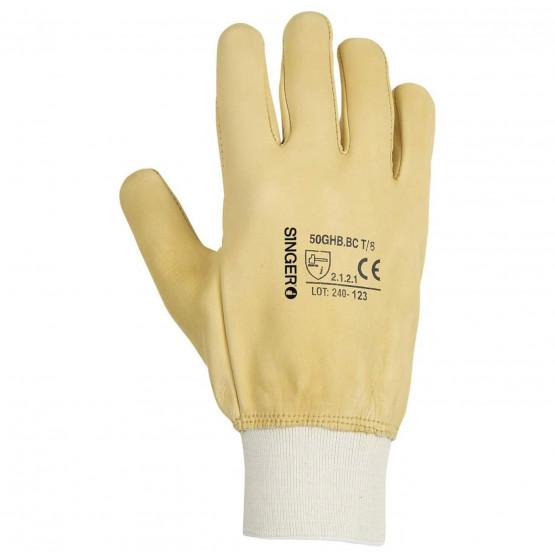 BEIGE - Gant de manutention professionnel de travail cuir bovin pleine fleur hydrofuge EN 420 Conforme aux exigences générales e