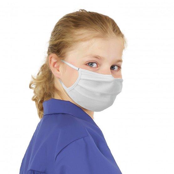 BLANC - Masque enfant lavable professionnelle de travail Jersey 57% coton / 38% polyester / 5% élasthanne - PROMO