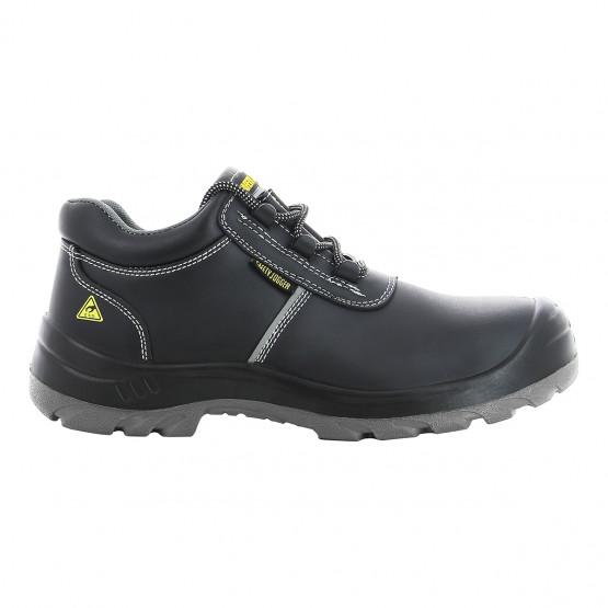 NOIR - Chaussure de sécurité S3 professionnelle de travail noire en cuir ISO EN 20345 S3 mixte chantier entretien artisan menage