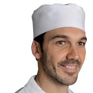 BLANC - Calot de cuisine professionnelle de travail 100% coton mixte hôtel restauration restaurant cuisine