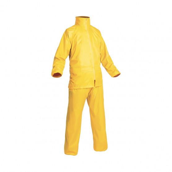 JAUNE - Ensemble de pluie professionnelle de travail polyester enduit PVC EN 340 Conforme aux exigences générales de performance
