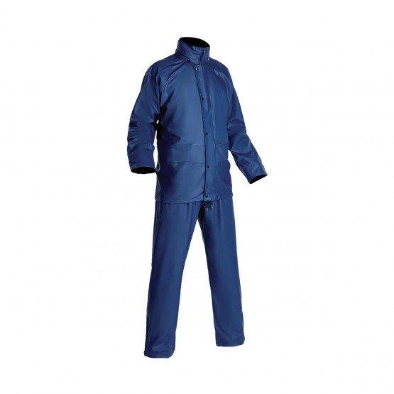 MARINE - Ensemble de pluie professionnelle de travail polyuréthane/PVC sur support de maille polyester avec coutures thermo-soud