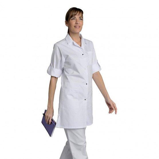 BLANC - Blouse professionnelle de travail blanche à manches transformables 100% coton femme médical auxiliaire de vie infirmier