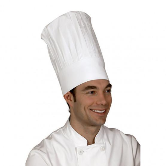 BLANC - Toque grand chef professionnelle de travail 100% coton mixte cuisine hôtel restauration serveur