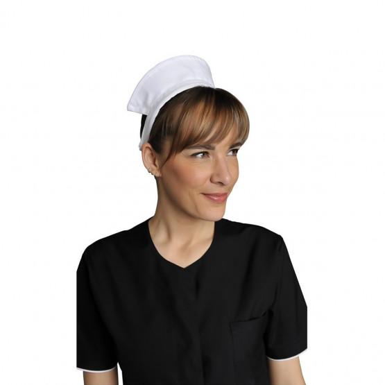 BLANC - Serre tête professionnelle de travail femme hôtel restauration restaurant cuisine