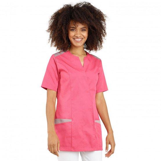 FUCHSIA/ZINC - Tunique professionnelle de travail à manches courtes femme auxiliaire de vie médical aide a domicile infirmier