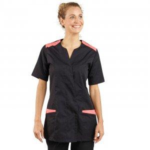 NOIR/PAPAYE - Tunique professionnelle de travail à manches courtes femme aide a domicile infirmier auxiliaire de vie médical
