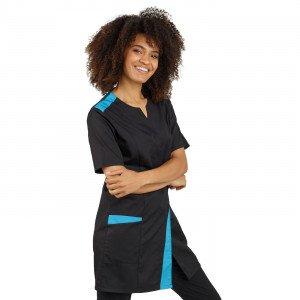 NOIR/ATOLL - Blouse professionnelle de travail à manches courtes femme médical aide a domicile infirmier auxiliaire de vie