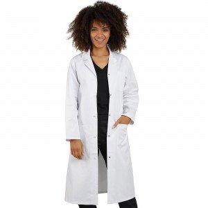 BLANC - Blouse professionnelle de travail blanche à manches longues 100% coton femme foyer infirmier internat médical