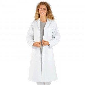 BLANC - Blouse professionnelle de travail blanche à manches longues femme cuisine médical serveur infirmier