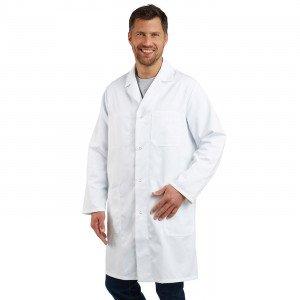 BLANC - Blouse coton à pressions professionnelle de travail blanche à manches longues 100% coton homme menage infirmier entretie