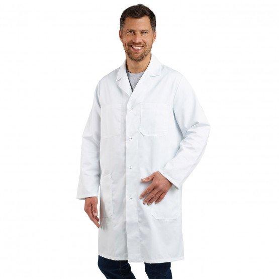 BLANC - Blouse coton à pressions professionnelle de travail blanche à manches longues 100% coton homme entretien médical menage