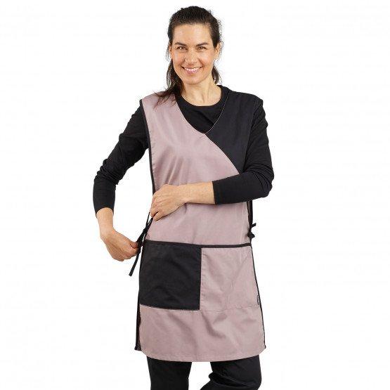 ZINC/NOIR - Chasuble tablier blouse professionnel femme serveur auxiliaire de vie traiteur entretien
