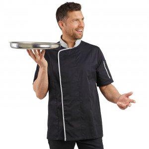 NOIR/PERLE - Veste de cuisine manches courtes professionnelle de travail à manches courtes homme serveur restaurant restauration