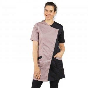 ZINC/NOIR - Blouse professionnelle de travail à manches courtes femme aide a domicile infirmier auxiliaire de vie médical