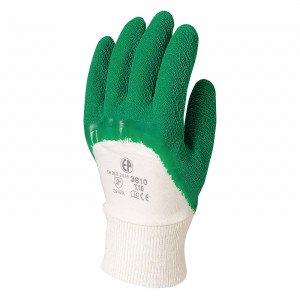VERT - Gant de manutention professionnel de travail tricot coton revêtu de latex naturel sur paume et doigts EN 420 Conforme aux