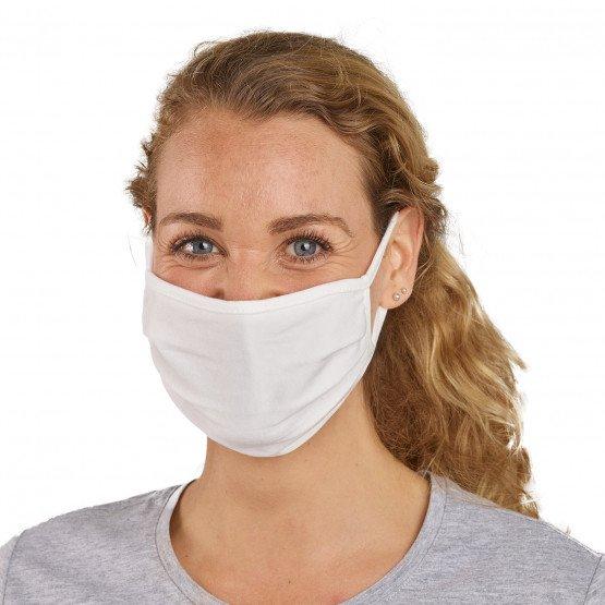 BLANC - Masque tissu lavable professionnelle de travail Jersey 57% coton / 38% polyester / 5% élasthanne UNS1 Catégorie 1 - Masq