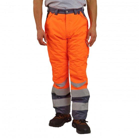 ORANGE - Pantalon haute visibilité professionnelle de travail Extérieur : 100% Polyester enduit polyuréthane - Rembourrage : 100