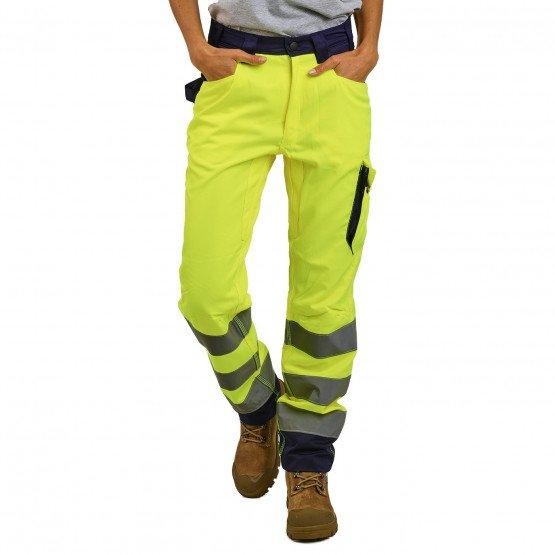 JAUNE/MARINE - Pantalon Haute visibilité professionnelle de travail mixte logistique chantier manutention artisan