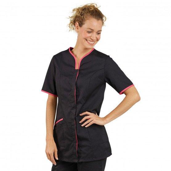 NOIR/FUCHSIA - Tunique professionnelle de travail blanche à manches courtes femme médical aide a domicile infirmier auxiliaire d