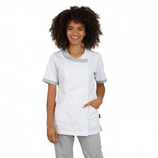BLANC/PERLE - Tunique professionnelle de travail blanche à manches courtes femme esthéticienne médical coiffeur infirmier
