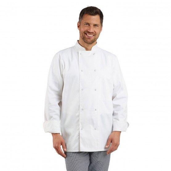 BLANC - Veste de cuisine manches longues professionnelle de travail à manches longues mixte cuisine restaurant restauration hôte