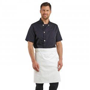 BLANC - Tablier de cuisine sans bavette professionnel blanche 100% coton mixte restaurant cuisine restauration serveur