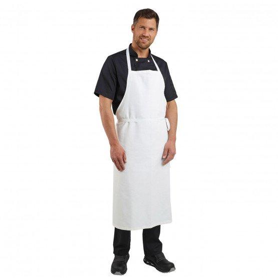 BLANC - Tablier à bavette sans poche de cuisine professionnel blanche 100% coton mixte cuisine restaurant restauration serveur