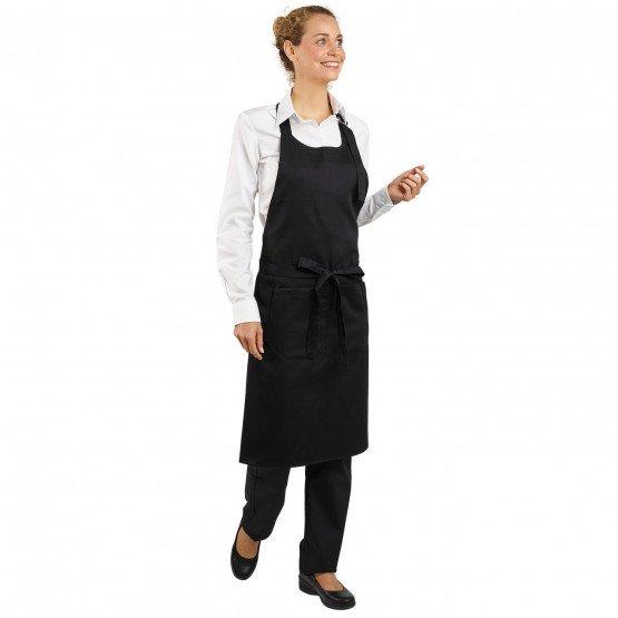 NOIR - Tablier de service de cuisine professionnel noire mixte restauration serveur cuisine hôtel