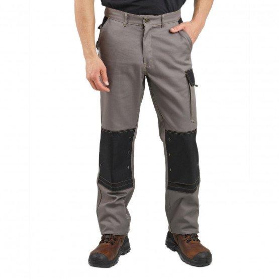 TAUPE/NOIR - Pantalon de travail professionnelle homme artisan manutention foyer chantier