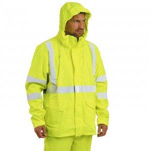JAUNE - Veste de pluie haute visibilité professionnelle de travail mixte manutention artisan transport chantier