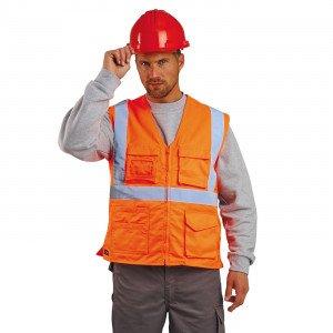 ORANGE - Gilet Haute visibilité professionnelle de travail mixte logistique artisan manutention chantier