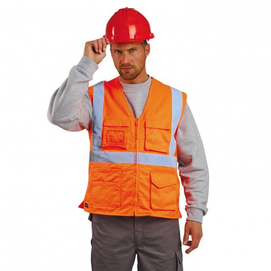 ORANGE - Gilet Haute visibilité professionnelle de travail mixte manutention artisan transport chantier