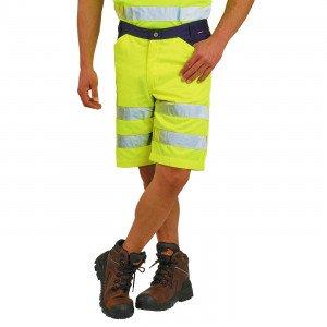 JAUNE/MARINE - Short Haute visibilité professionnelle de travail homme chantier logistique artisan transport