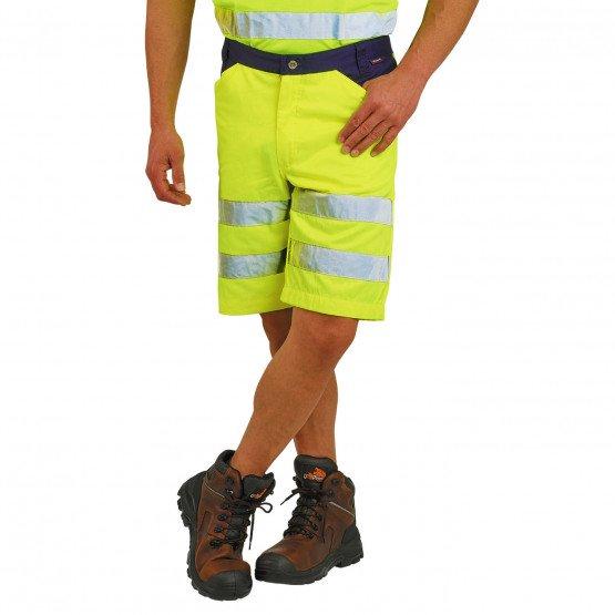 JAUNE/MARINE - Short Haute visibilité professionnelle de travail homme manutention artisan transport chantier