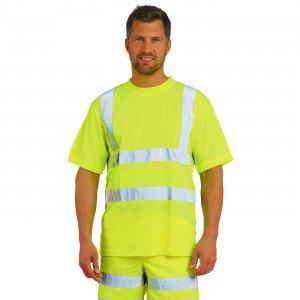 JAUNE - Tee-shirt professionnelle de travail à manches courtes mixte logistique chantier manutention artisan