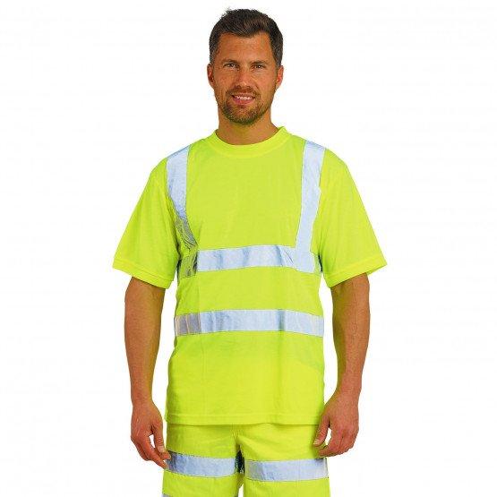 JAUNE - Tee-shirt professionnelle de travail à manches courtes mixte logistique artisan manutention chantier